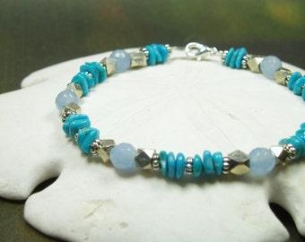 Sleeping Beauty Turquoise Bracelet/ Jade Brass Silver Beadwork Bracelet
