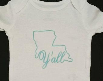 Louisiana Ya'll Onesie, Gender reveal gift, baby shower gift. Louisiana Baby Onesie