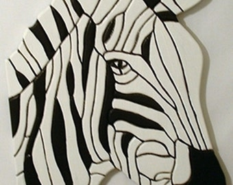 Wood sculpture, Zebra, Animal, Wall Decor, Rustic, Wood, Wall Art, Wall Hanging, African Decor, Intarsia Wood Art.