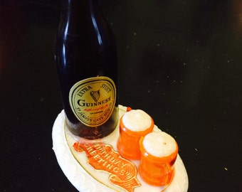 "Vintage Cake Decoration. Guinness Beer Bottle-""Birthday Greetings"""