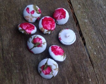 Fabric Buttons - 10 Small Fabric Covered Buttons