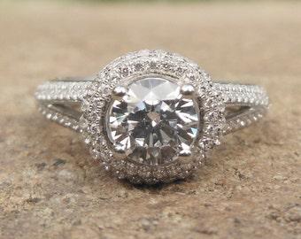 Engagement Ring / Semi Mount Ring / 14K White Gold Round 5.5MM Diamond Ring