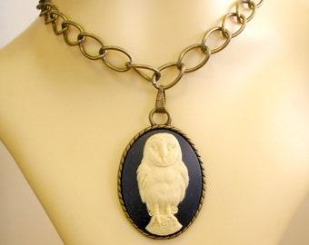 Blue Cream Owl Cameo Bronze Pendant Bronze Big Link Chain Necklace Goth Victorian Steampunk Fantasy Boho Folk Hippie Style Limited Edition