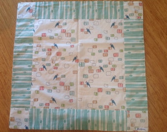 Baby blanket play mat floor snuggle rug minky back quilt, gender neutral organic cotton front baby gift
