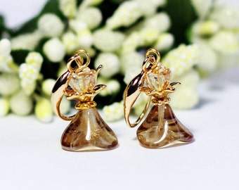Gold Plated Flower Czech flower bead Water Drop Earring,Bridesmaid Gift, Gold Plated Earring, Flower Earring,Gifts Under 20