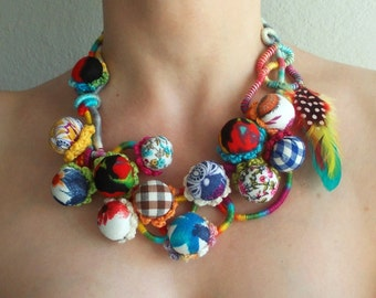 Candy Town...Balls and Feathers..Colorful Textile Beads From Cotton Fabric With Print..Wrapped,Crochet and Sewn Statement Tribal Necklace...