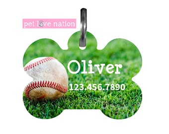 Personalized Pet Tag, Dog Tag, ID Tag, Baseball Pet Tag With Name And Phone Number