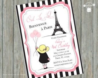 DIGITAL DOWNLOAD Little Girl in Paris Invitations