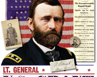 Union General US Grant Collage T-shirt, General Ulysses S Grant, 150th Civil War Sesquicentennial 100% Cotton Gift T-Shirt