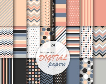 Classic digital paper navy coral colours pink navy blue black gray gray dots stripe chevron wedding colors solid background basic pattern