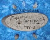 "Hand Made ""FAIRIES Sleeping"" Wooden Sign - Magical Faery Pyrography FAERIE Realm Decor Fairy Garden Enchanted Woodland Toadstool Fairydust"