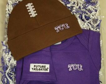 Texas Christian TCU Baby Bodysuit & Football Cap Gift Set