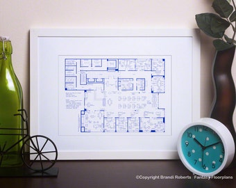 Mad Men Art  - Hand-Drawn BluePrint Floor Plan for Offices of Sterling Cooper - 23rd Floor from Seasons 1-3 **Featured on NBC's Today Show