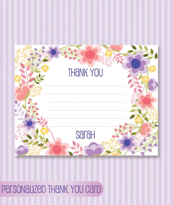 bat mitzvah personalized thank you card download printable