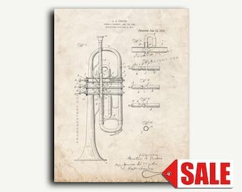 Patent Art - Cornet or Trumpet Patent Wall Art Print