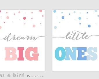 11x14 twins room decor PRINTABLE, Dream big little ones, pink and blue nursery room, boy girl twins decor, baby twins wall art