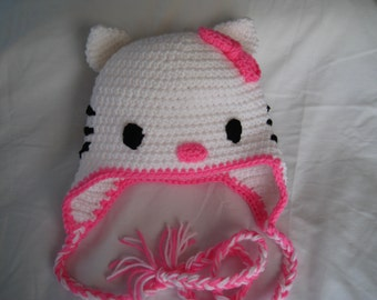 Hello Kitty-inspired crocheted hat with earflaps and ties