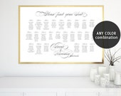 Custom printable seating chart in any color combination, wedding seating chart, calligraphy seating chart, custom seating chart WSC006 Paige