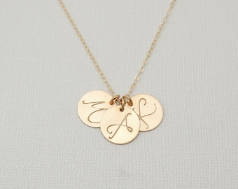 Large Initial Necklace. Personalized Gold Initial Disk. 14k Gold Filled Monogram Circle Necklace. Disc Layering Necklace