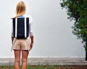Minimalist backpack, 15'' laptop rucksack waterproof canvas and leather, zipper daypack 201, Sale -30% off.