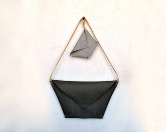 Minimalist envelope bag, detachable matching clutch, personalized envelope clutch, Minimalist purse, Origami double