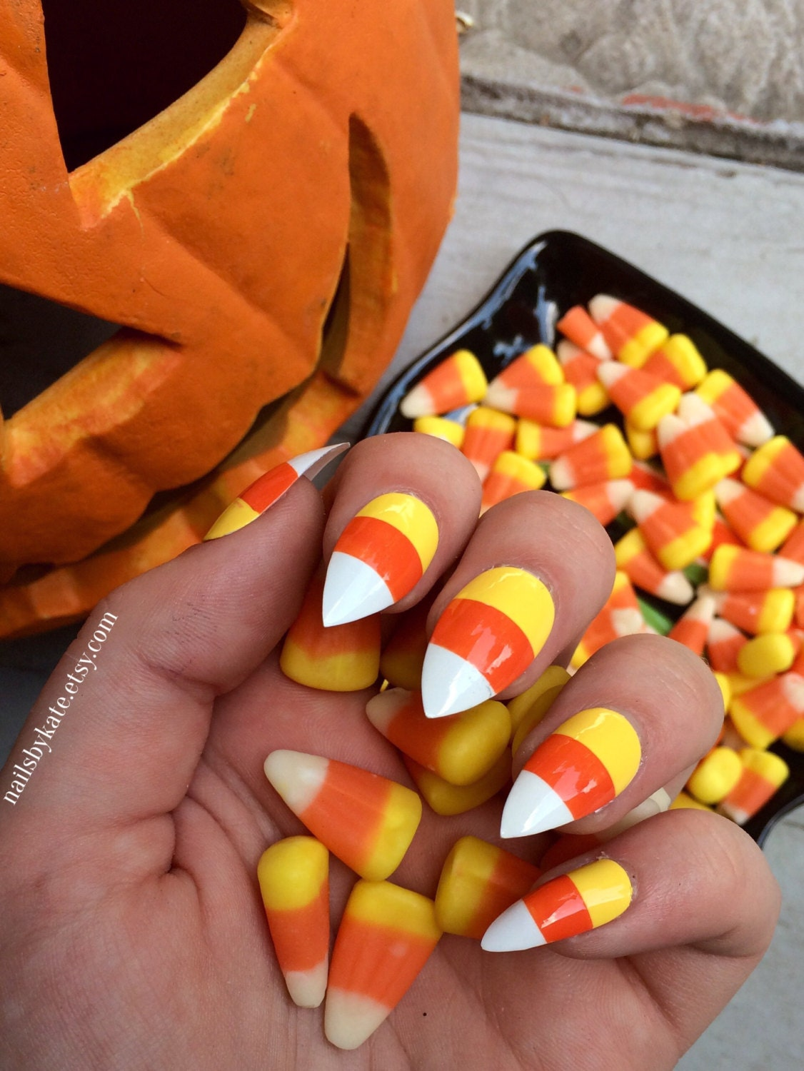 Candy corn nails fake nails halloween nails halloween