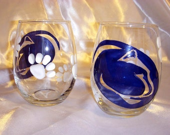 Wine Glasses- Hand Painted -  Stemless Penn State Wine Glasses (set of 2)