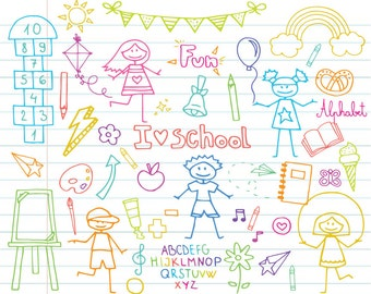 Back To School Doodle Clipart Set - Instant Download - Personal and Commercial Use