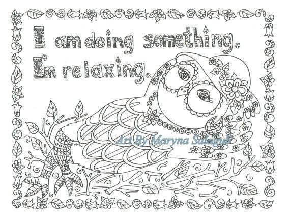 Coloring page relaxing owl download print color digital file for Relaxing coloring pages