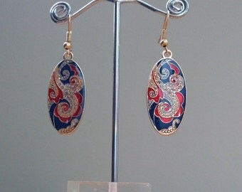 Blue and red, gold oval filigree earrings