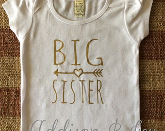 Big Sister Shirt or Onesie with Gold lettering - Puffy Sleeve shirt