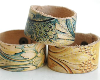 1.25 Inch Wide Genuine  Leather Cuff Bracelet - Cuff Wristband - Three Cuff