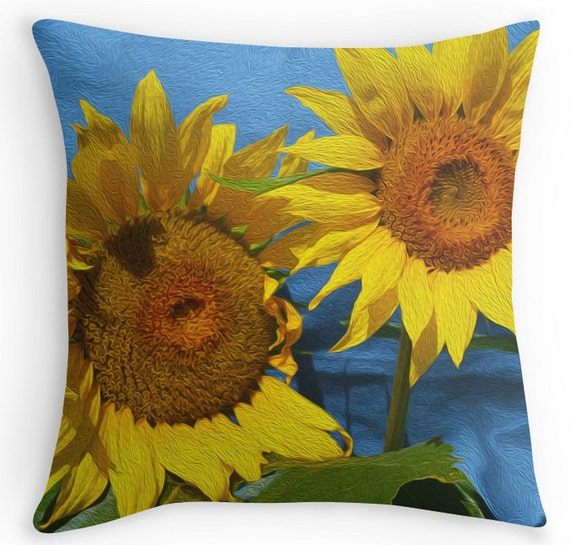 Decorative Pillows With Sunflowers : Decorative Pillows Throw Pillow Accent Pillow Sunflowers