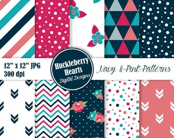 80% OFF SALE Floral Digital Paper, Triangle Patterns, Digital Confetti Paper, Navy Blue, Pink, Seamless Patterns