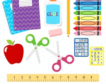 80% OFF SALE School Supplies Clipart, Back to School Clipart, Crayon Clipart, School Clipart, Pencil Clipart