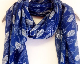 Navy Blue White Leaf Women Scarves / Spring Scarf / Summer Scarf / Gift For Her / Accessories