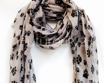 Light Grey Animal Paw Spring Summer Scarf / Autumn Scarf / Gift For Her / Women Scarves / Accessories