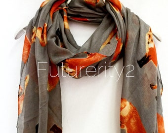 Exquisite Fox Grey Spring Summer Autumn Scarf / Fashion Accessories / Women Scarves / Gifts For Her