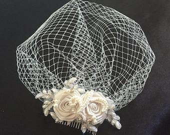 Ivory Birdcage Veil- Ivory pearl, Crystal Bridal Fascinator-Wedding Headpiece