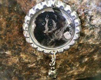 Beaded Monkey Bottlecap Necklace, OOAK