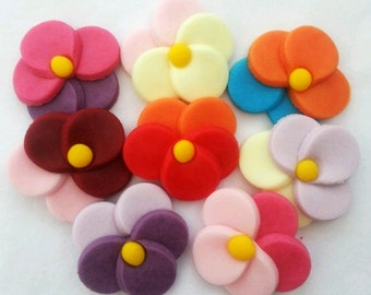 24 pansy cake toppers edible sugar flower decorations