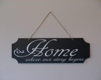 Home where our story begins. hanging sign, Plaque, with vinyl saying