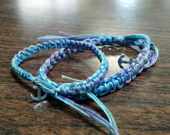 Hand woven friendship bracelet with silver anchor charm