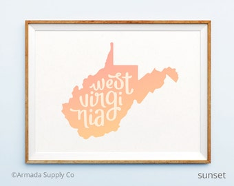 West Virginia print - West Virginia art - West Virginia poster - West Virginia wall art