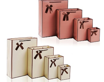 Medium Elegant Paper Bag with Ribbons & Rope Handles - Carrier Shopping Bag / Wedding Party Gift Bags / Craft Jewelry Accessories Packaging