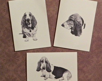 Set of 12 Handmade Blank Basset Hound Dog Print Note Cards