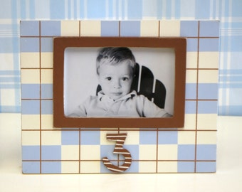 70% OFF!!!  3rd Birthday Wooden Blue Handpainted Picture Frame for Boy