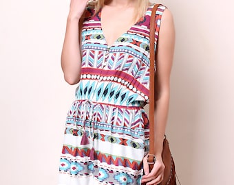 Liquorish Printed Playsuit with Crochet Back Detail