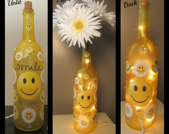 Smiley Face Be Happy Yellow Dyed Wine Bottle Night Light