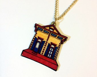 New Orleans Shotgun House in Gold and Mulberry – Ursulines St. Necklace